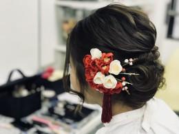 髪飾りとレトロ振袖