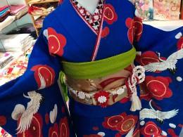 梅に鶴に青い振袖♪