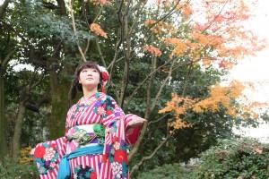 京都市国際交流会館、京都ロケ撮影、レトロ柄振袖、京都振袖