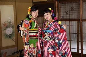 京都町家ロケ 成人式前撮り 新体操 レトロ柄振袖