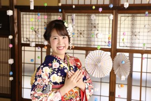 京都町家ロケ 古典柄振袖 キモノハーツ
